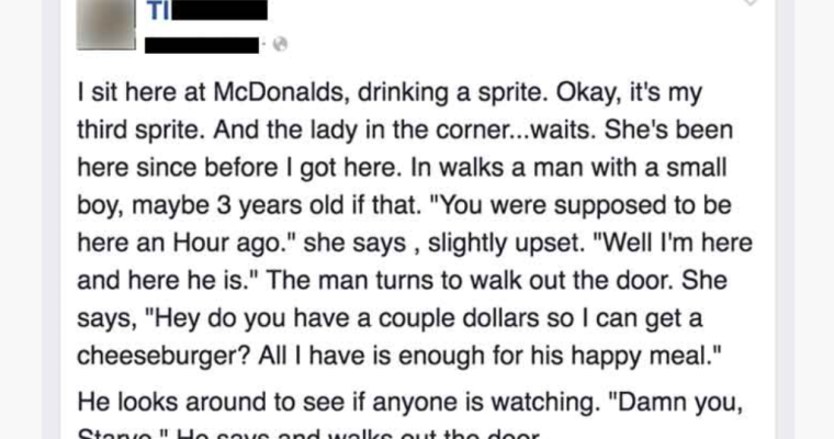 He Writes A Note To The Hungry Mom At McDonalds, Who Cries When Reading It