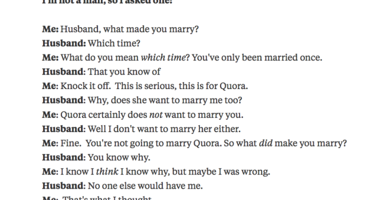 Wife Asks Husband What Made Him Marry Her, And The Answers Are Heartwarming Yet Hilarious